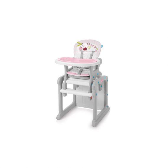 Różowe krzeselko do karmienia z owocami