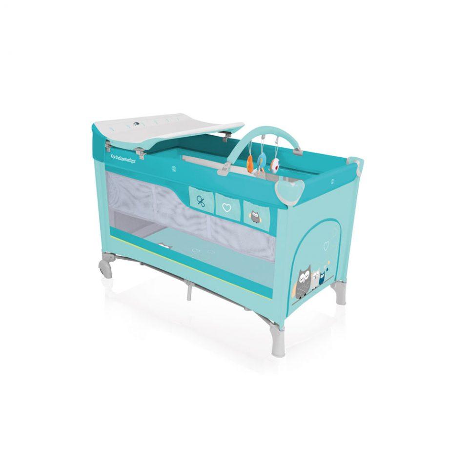 turkusowe lozeczko turystyczne baby design dream